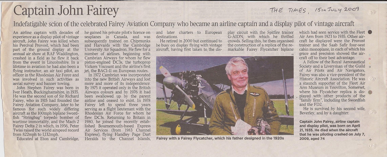 Captain John Fairey Times obituary
