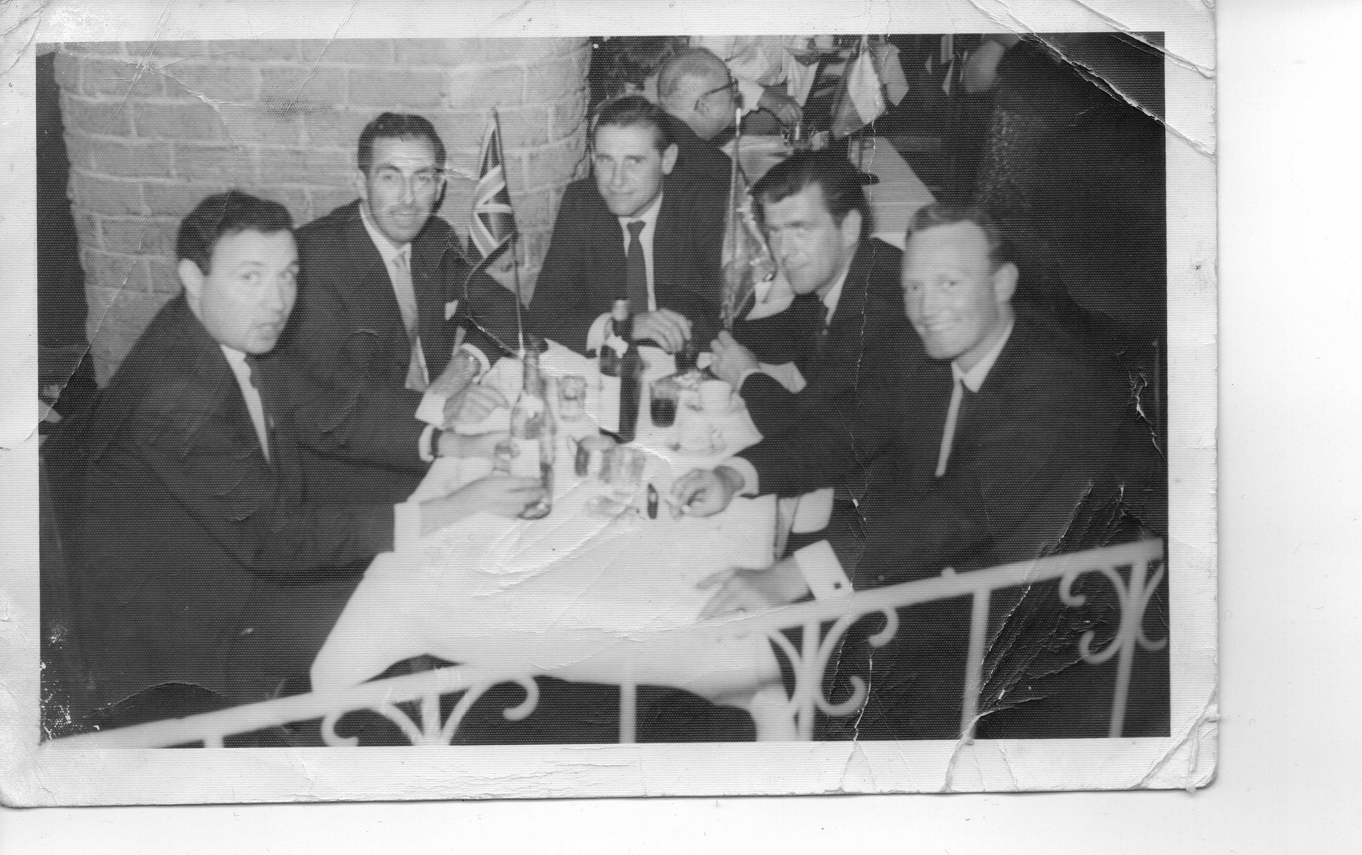 Crew in Chile.  L to R: Bob Purcell, Ozzie Vertigo, Geoff Milsom, Jim Rowe and A N Other