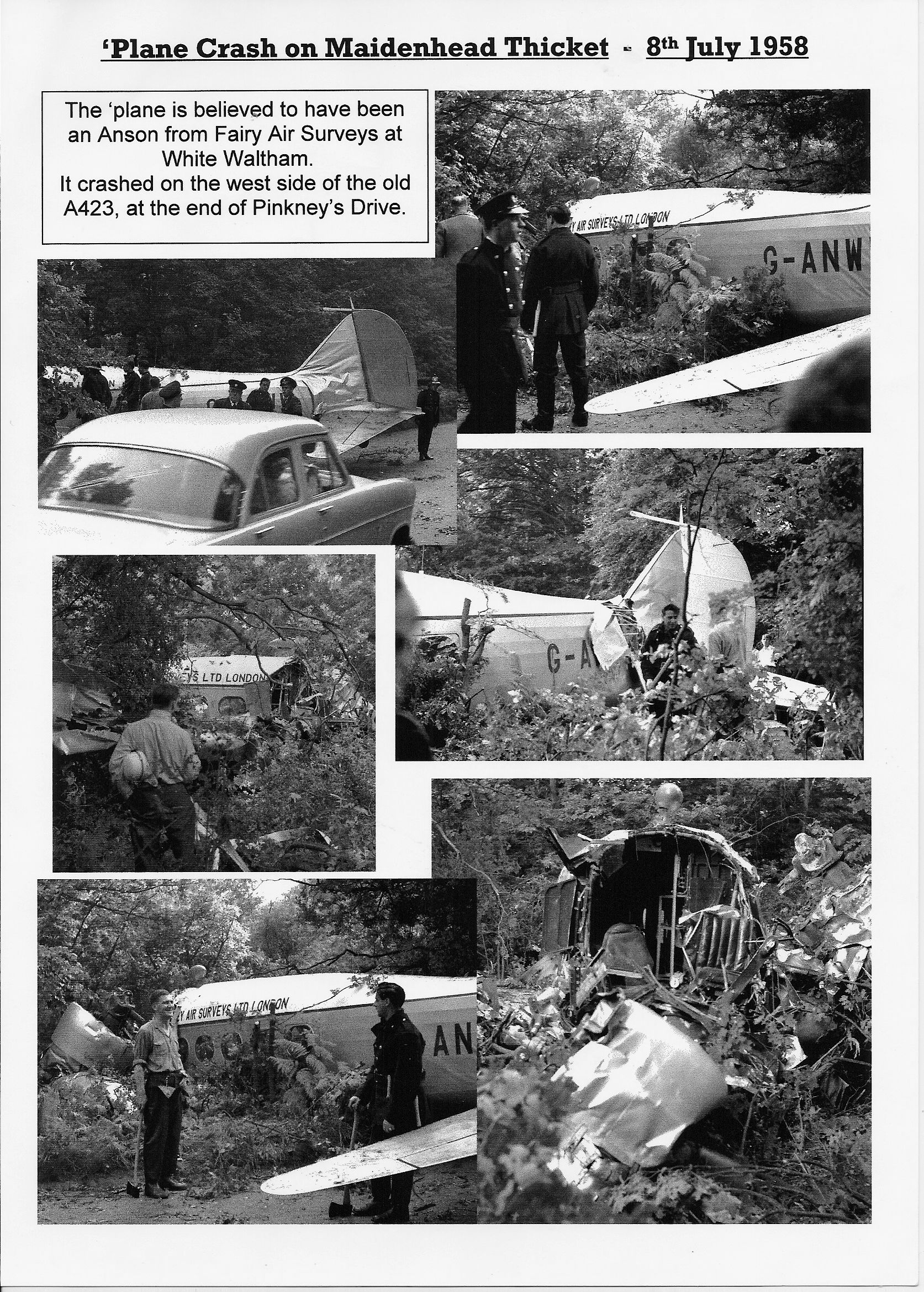 FAS Anson crash Maidenhead July 1958