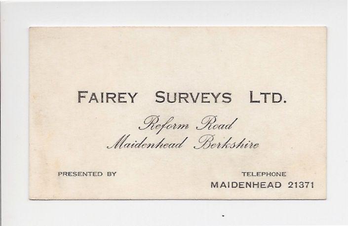 Fairey Surveys business card
