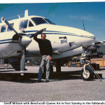 Geoff Milsom with Beechcraft Queen Air in Port Stanley in the Falklands