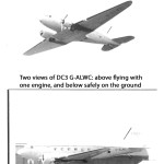 Two views of DC3 G-ALWC: above flying with one engine, and below safely on the ground