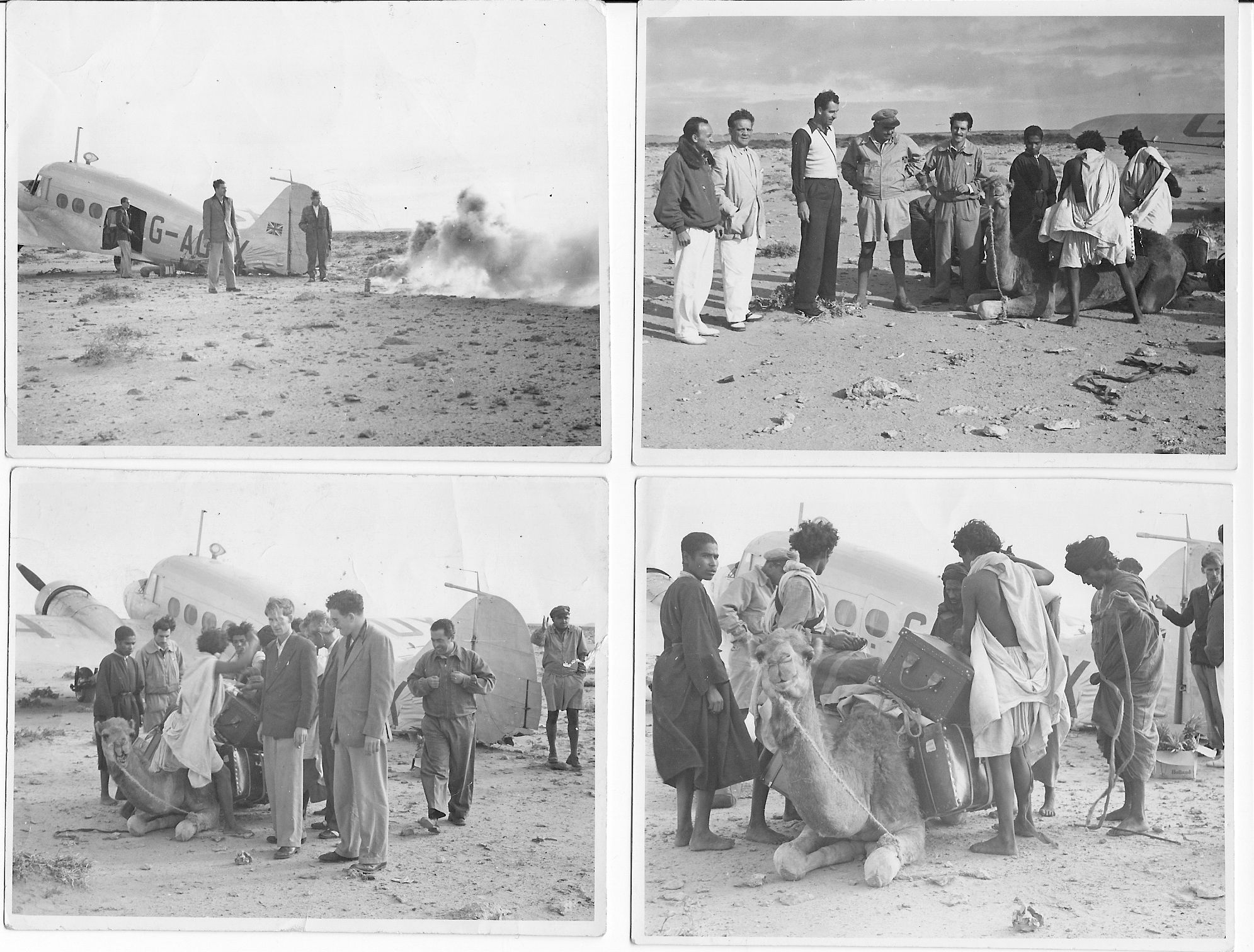 This is the second half of the story of the Avro Anson that landed badly in the desert, with a single camel to take the strain.  No date or loction again, but it doesn't look as if it's very warm.  Perhaps the clothes of the locals might give someone a clue to where it is?