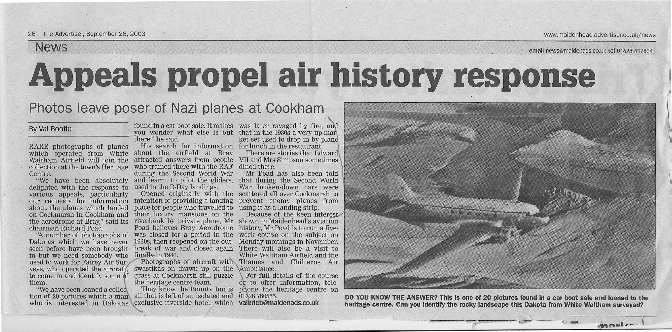 Maidenhead Advertiser cutting - September 2003
